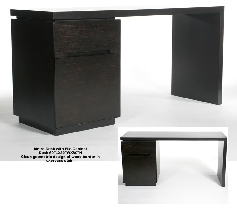 Indo Puri Metro Desk with File Cabinet