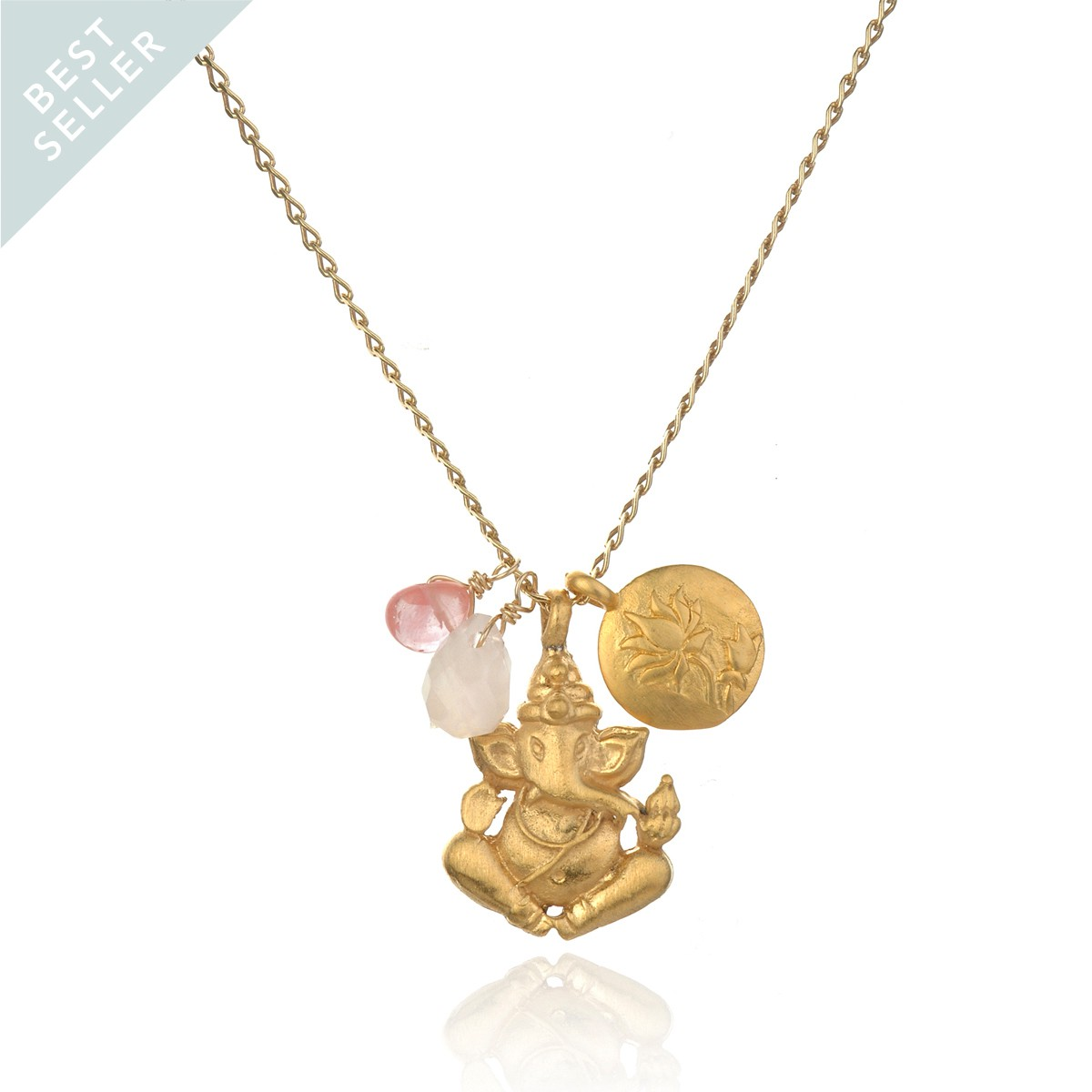 Satya Gold Rose And Cherry Quartz Ganesha Lotus Necklace - Clear The Path