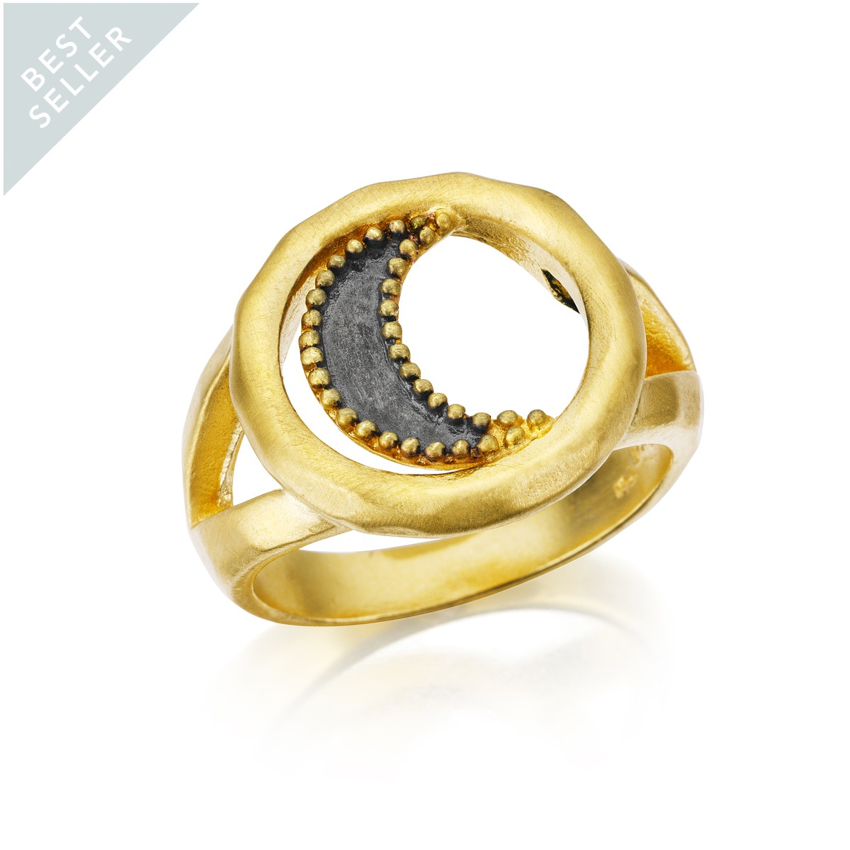 Satya Gunmetal And Gold Moon Ring - Wax And Wane