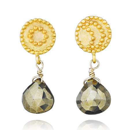 Satya Gold Pyrite Celestial Earrings - Shooting Stars