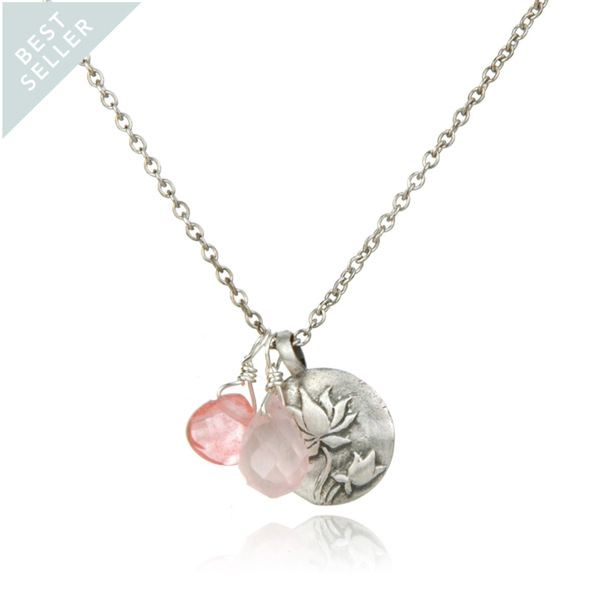 Satya Silver Rose And Cherry Quartz Lotus Necklace - Regeneration