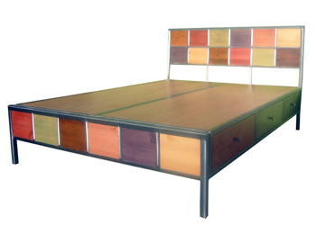 Brushed Steel and Wood 6 Drawer Storage Bed